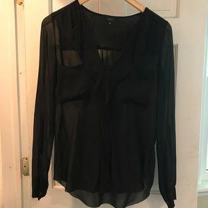 Aritzia Babaton Black Silk Sheer Blouse